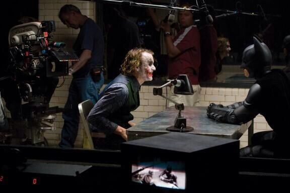 most amazing movie and TV behind-the-scenes of all time Christian Bale and Heath Ledger filming the infamous interrogation scene in The Dark Knight
