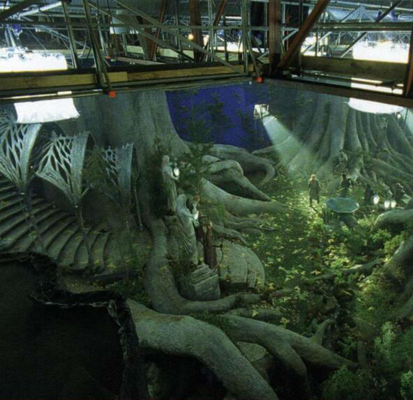 most amazing movie and TV behind-the-scenes of all time Lord of the Rings Lothlorien set