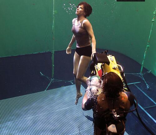 most amazing movie and TV behind-the-scenes of all time Sandra Bullock on the set of Gravity 2013