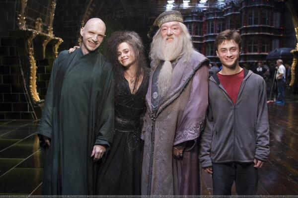 most amazing movie and TV behind-the-scenes of all time Voldemort, Bellatrix, Dumbledore, and Harry on set