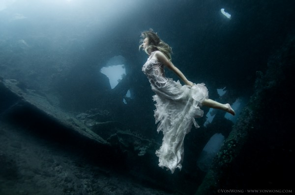 Surreal pictures of nymphs on shipwrecks